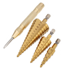 3Pcs HSS Titanium coated Step Drill Bits 4-12 / 4-20 / 4-32mm avec 4mm Automatic Center Pin Punch